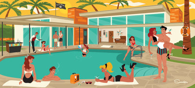 'I've Got You Under My Skin' is a mid-century modern styled high-quality print of Frankie enjoying the Palm Springs sun poolside with friends by the artist Scooter. All prints are professionally printed, packaged, and shipped. Choose from multiple sizes and mediums.
