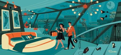 'Luck Be a Lady' is a mid-century modern styled high-quality print, of Frankie and his lady in a penthouse from the mid-century modern era in Las Vegas by the artist Scooter. All prints are professionally printed, packaged, and shipped. Choose from multiple sizes and mediums.
