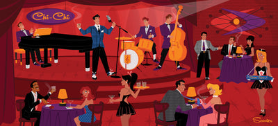 'The Good Life' is a mid-century modern styled high-quality print, of Frankie performing at the Chi Chi from the mid-century modern era in Palm Springs, by the artist Scooter. All prints are professionally printed, packaged, and shipped. Choose from multiple sizes and mediums.