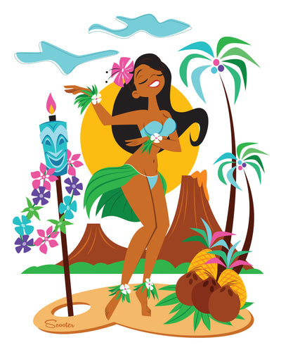 """Hukilau Hula"" is a retro, mid-century modern, Hawaiian, Tiki styled high-quality print by the artist Scooter. All prints are professionally printed, packaged, and shipped. Choose from multiple sizes and mediums."