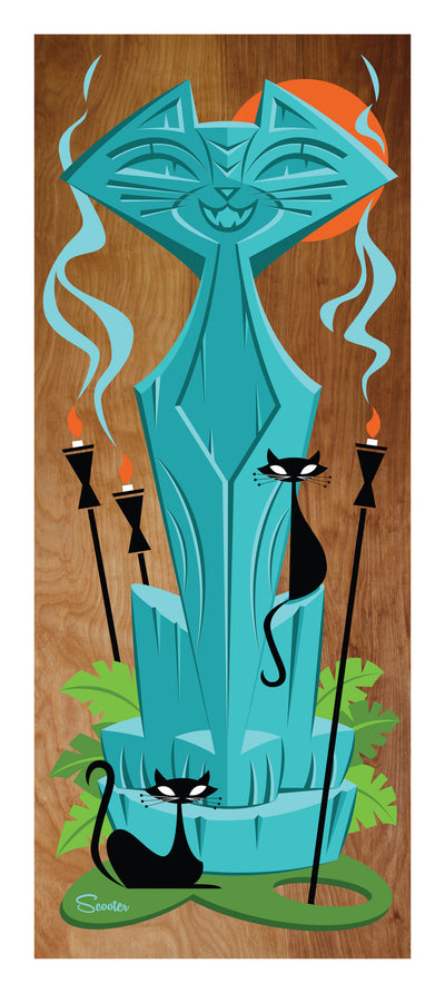 "Tiki pā'ina Limited Edition (a.k.a. tiki cat party) is a 13x29"" limited edition print of the original acrylic painting on stained birch wood. This print includes a 1.0"" white border, for total print size of 13x29"". It is a series of 200 and is hand signed and number by the artist Scooter."