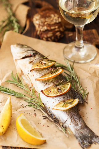 cooked sea bass with lemon