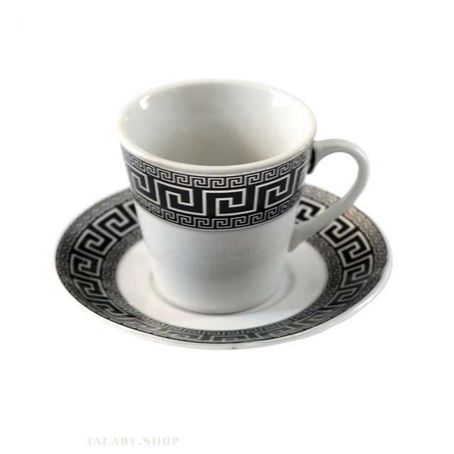 Arabic Coffee Cups Set 6 Pieces with Saucer