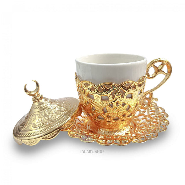 Coffee - Tea Set with a golden tray &  Round plate
