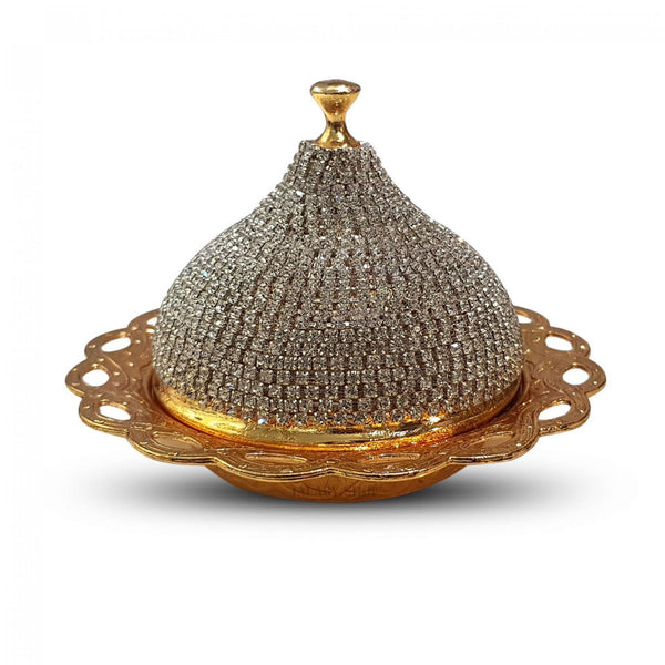 Oriental Dates Platter Gold Color with Cover