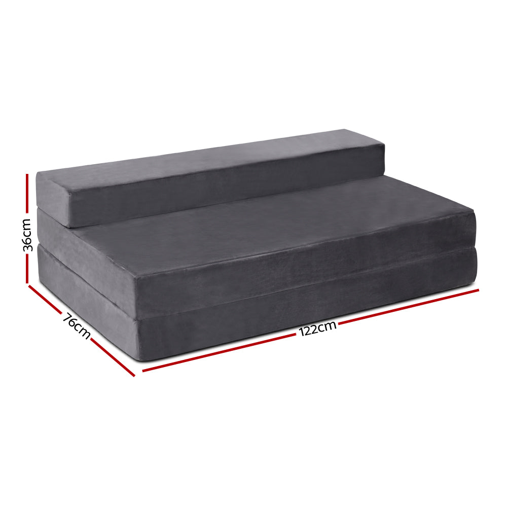 Double Size Folding Foam Mattress Portable Bed Mat Velvet Dark Grey - Giselle Bedding