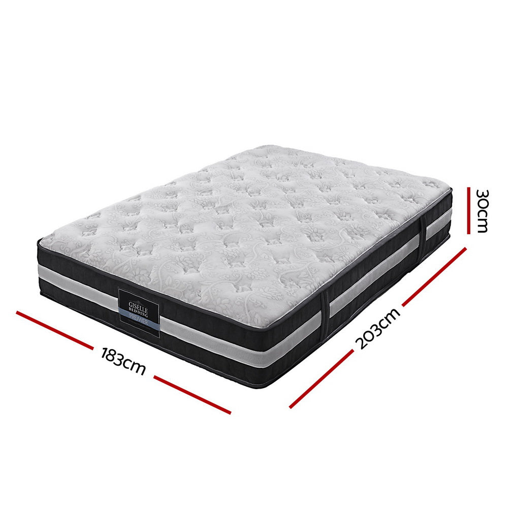 30cm King Mattress Bed Size 7 Zone Pocket Spring Medium Firm Foam - Giselle Bedding
