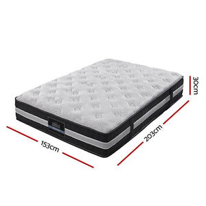 30cm Queen Size Mattress Bed Size 7 Zone Pocket Spring Medium Firm Foam - Giselle Bedding