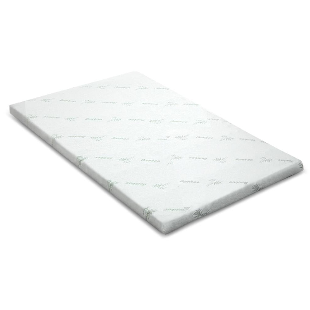 Cool Gel Memory Foam Mattress Topper w/Bamboo Cover 5cm - King - Giselle Bedding