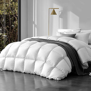 800GSM Goose Down Feather Quilt Cover Duvet Winter Doona White Queen - Giselle Bedding