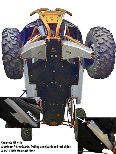 10-Piece Complete Aluminum or UHMW Skid Plate Set, Polaris RZR XP 1000 High-Lifter