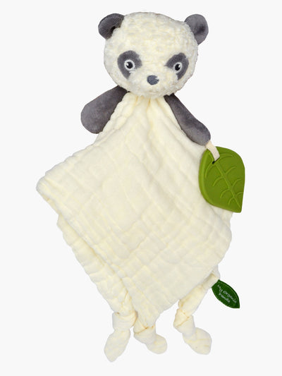 My Organic Panda comfort blanket in muslin with silicone leaf teether