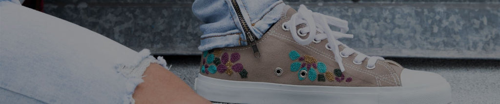 taupe embroidered sneaker