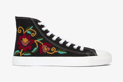 black-floral-high-top