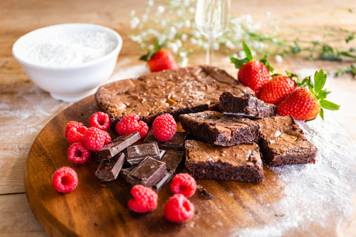 Prosecco & Raspberry Brownies