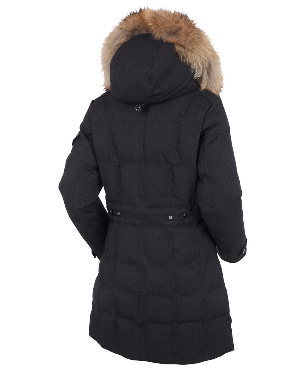Women's Tanya Quilted 3/4 Coat With Removable Faux Fur Ruff