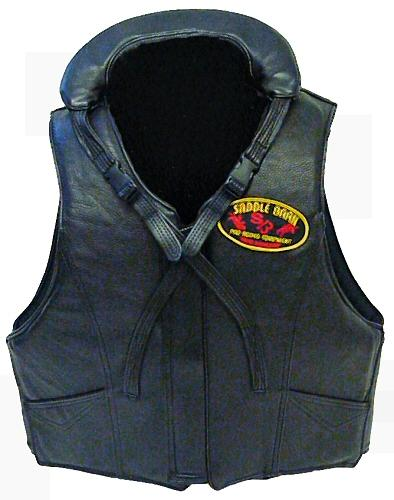 Leather Bareback Vest with Collar - Tall