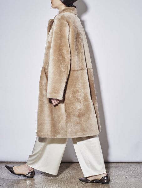 Shearling Fur Coat, Champagne *Made-to-order