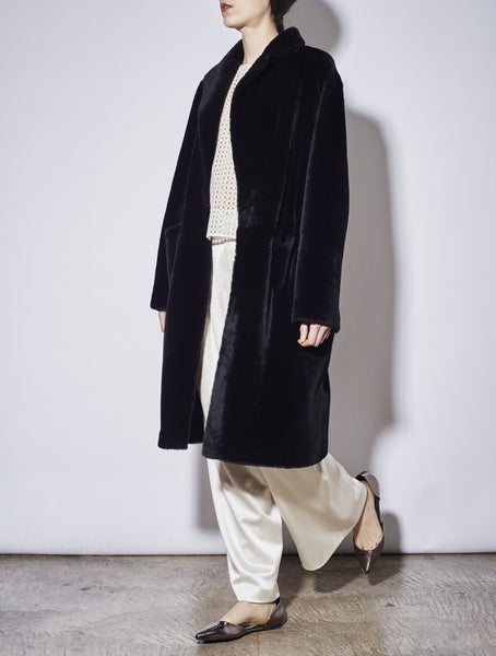CLASSIC TEDDY SHEARLING COAT, BLACK *MADE-TO-ORDER
