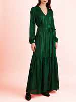 RHIE Womens Designer Emerald Green Silky Amanda Dress