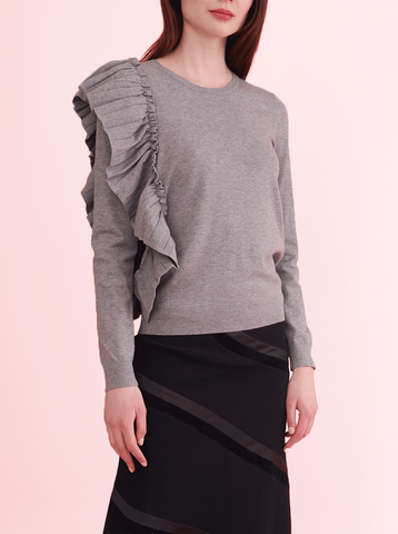 PLEATED RUFFLE SWEATER, GREY