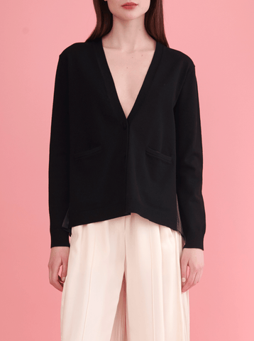 BACK PLEAT CARDIGAN, BLACK