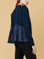 RHIE Womens Designer Navy Sweater with Back Pleat