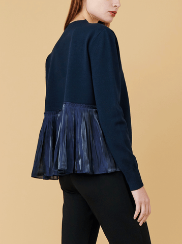 BACK PLEAT PULLOVER, NAVY