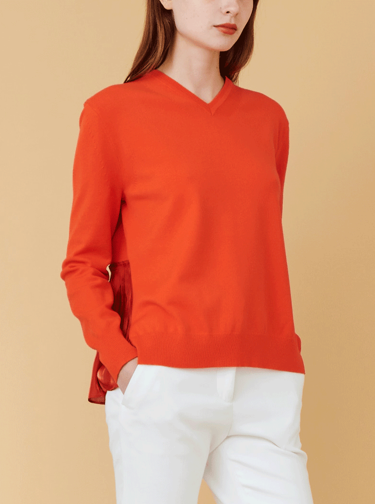 BACK PLEAT PULLOVER, FIRE RED