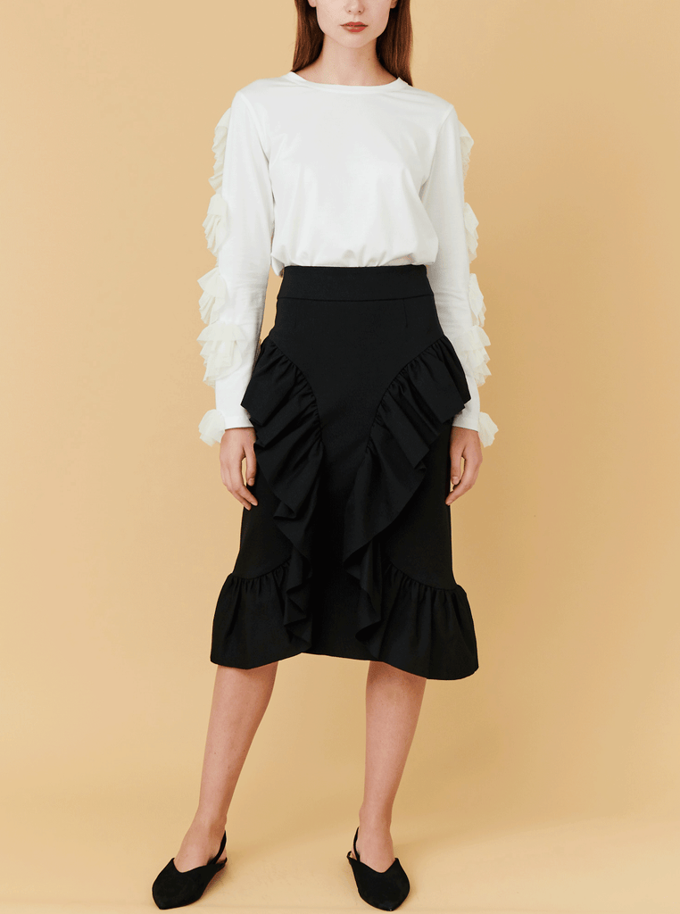 C- RUFFLE SKIRT, BLACK