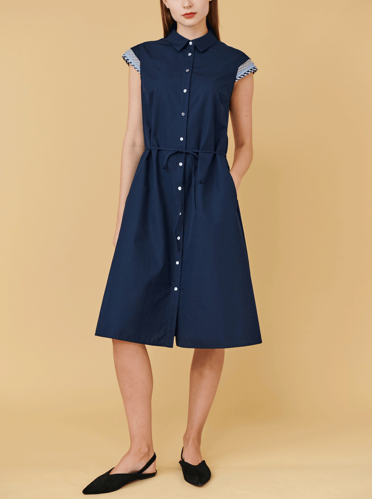 CAP SLEEVE DRESS, NAVY