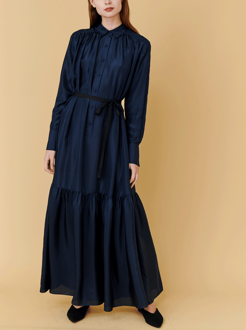 RHIE Womens Designer Navy Silk Chai Dress with Waist Ribbon