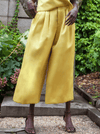 RHIE Womens Dia Double Satin Pant in Yellow front view
