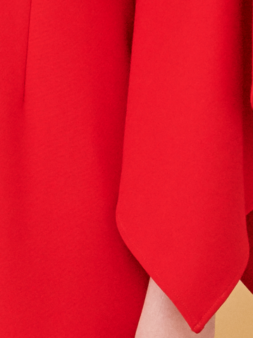 DRAPED SLEEVE DRESS, RED