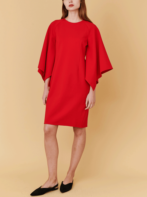 RHIE Womens Red Dress with Draped Sleeves
