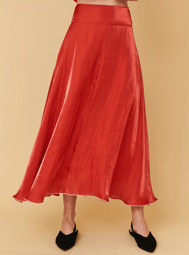FLARED SKIRT, RED
