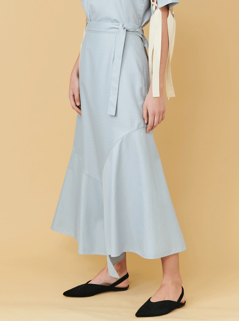 HEM PANELED SKIRT, GREY HERRINGBONE