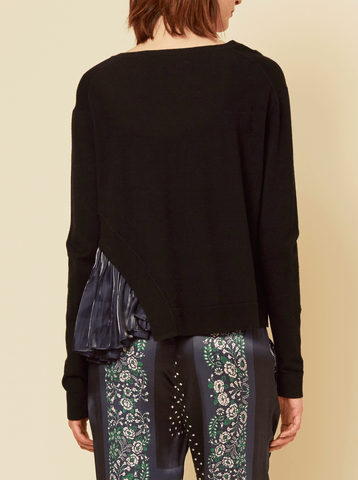 JANE PULLOVER WITH COMBO HEM, BLACK / NAVY