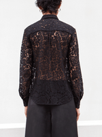 RHIE Black Lace Blouse with back yoke