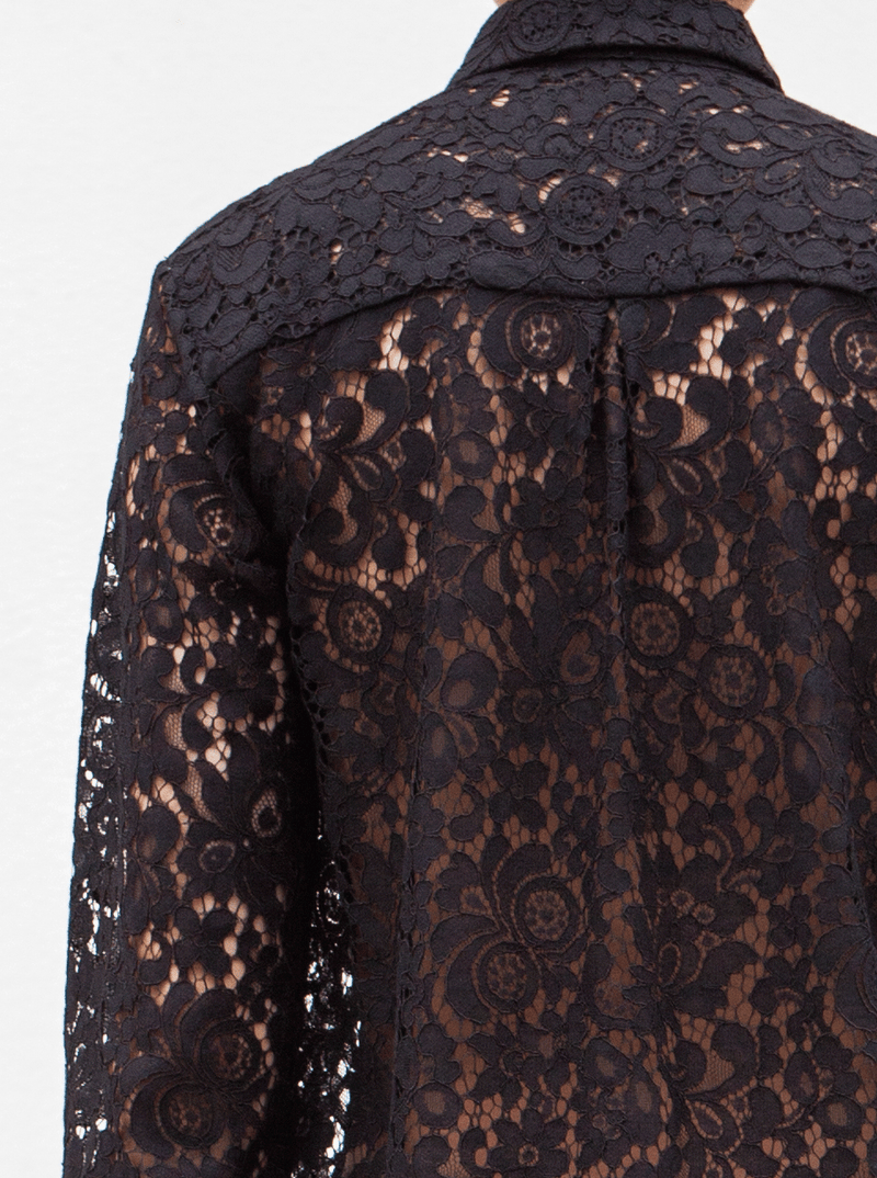 RHIE Black Lace Blouse detail