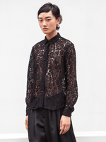 RHIE Black Lace Shirt Blouse