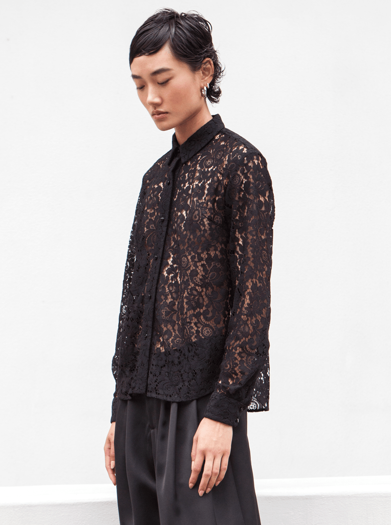 RHIE Black Lace Blouse paired with the Double Satin pant