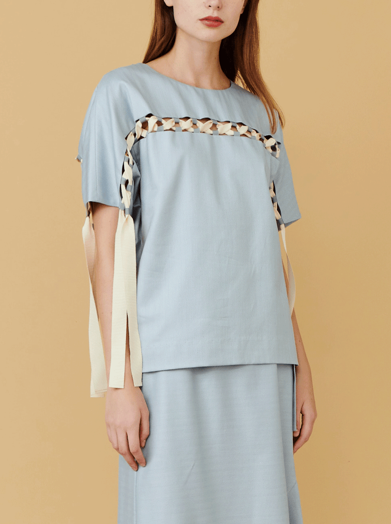 RHIE Womens Laced Top, in Grey cotton herringbone and grosgrain ribbon