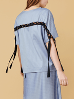 RHIE Womens Cotton Laced Top in Navy Herringbone, with Grosgrain ribbon