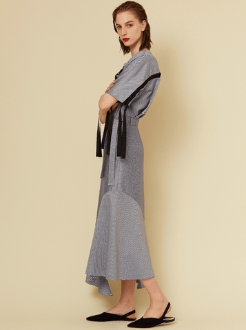 HEM PANELLED SKIRT, NAVY HERRINGBONE