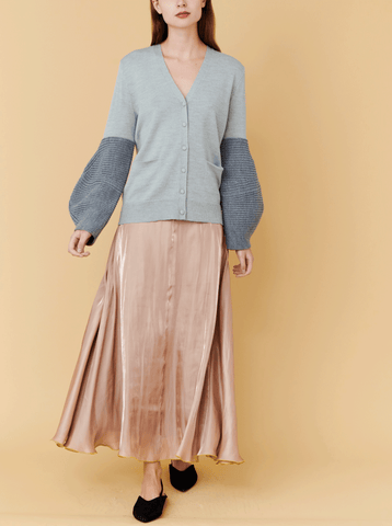 FLARED SKIRT, BEIGE