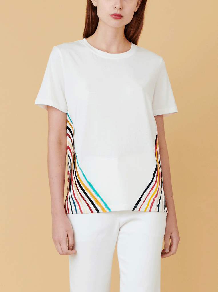 MORRIS EMBROIDERY TEE, WHITE