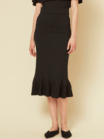 PERRY RUFFLE KNIT SKIRT, BLACK