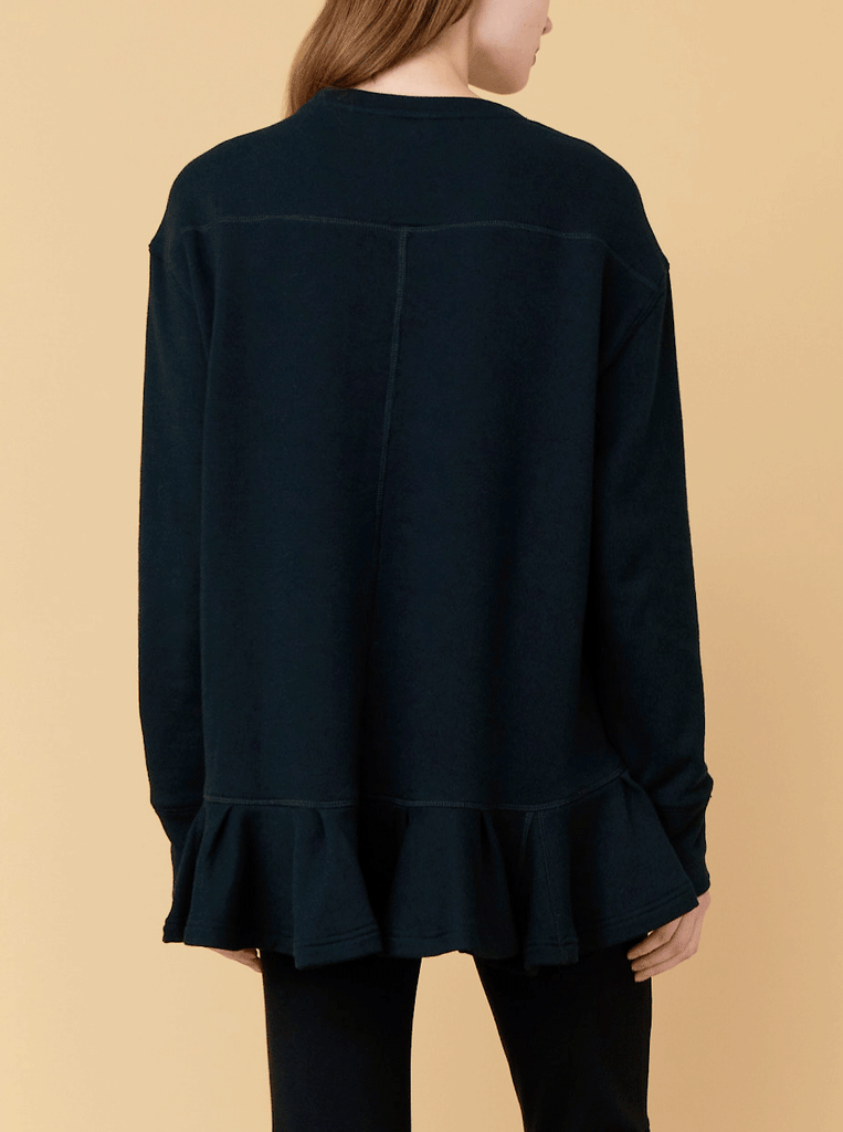 PLEATED HEM SWEATSHIRT, BLACK