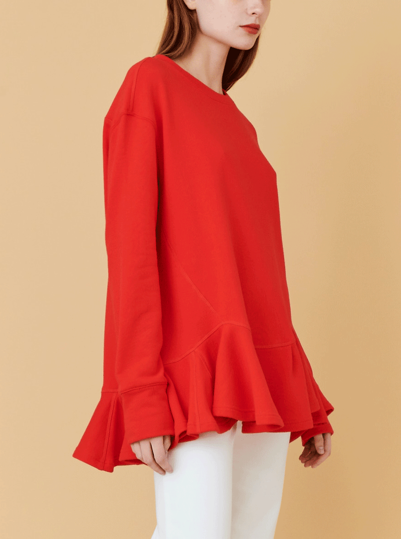 RHIE Womens Pleated Hem Sweatshirt in Fire Red, with a ruffle hem